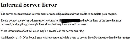 internel server error