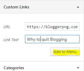Add to menu wordpress