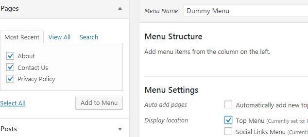 How to create menu wordpress