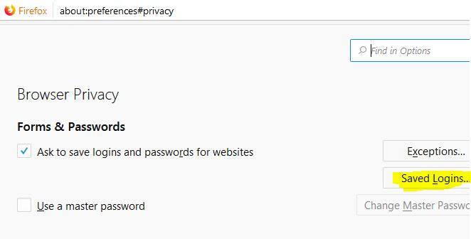 Firefox Privacy Logins