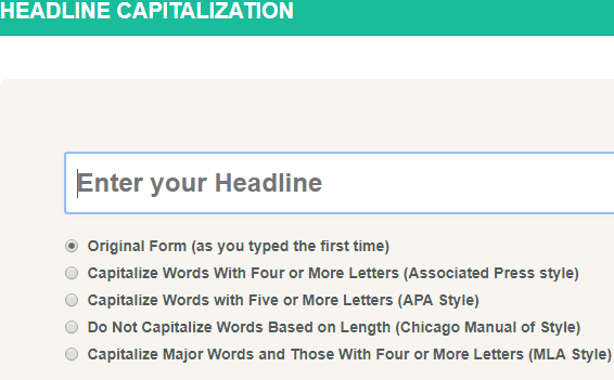 Headline Capitalization