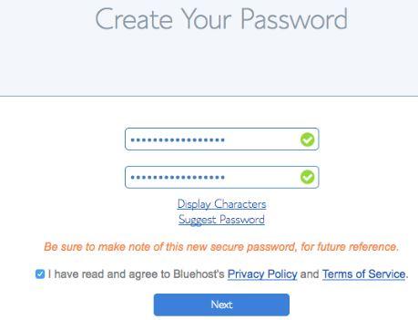 Create Password Bluehost