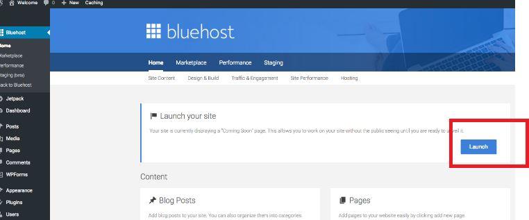 Wordpress Blog Launch button