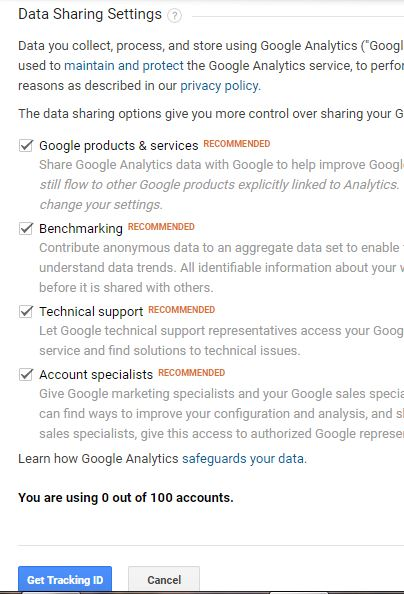 Analytics Tutorial Data Sharing settings